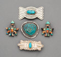 Jewelry:Brooches/Pins, Five Southwest Silver and Stone Brooches... (Total: 5 )
