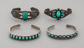 Jewelry:Bracelets, Four Fred Harvey Silver and Turquoise Bracelets... (Total: 4 Items)