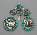 Jewelry:Brooches/Pins, Three Zuni Brooches. c. 1950 and 1995... (Total: 3 Items)