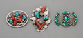 Jewelry:Brooches/Pins, Three Zuni Brooches. Dan Simplicio and Family. c. 1940 and 1950... (Total: 3 Items)