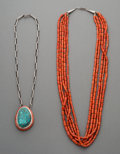 American Indian Art:Jewelry and Silverwork, Two Navajo Necklaces. c. 1990... (Total: 2 Items)