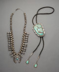 American Indian Art:Jewelry and Silverwork, Two Navajo Silver and Turquoise Jewelry Items... (Total: 2 Items)