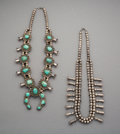 Jewelry:Necklaces, Two Southwest Squash Blossom Necklaces. c. 1950 and 1980... (Total: 2 Items)