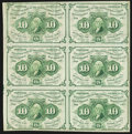 Fractional Currency, Fr. 1242 10¢ First Issue Block of Six Very Fine.. ...
