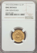 Colombia, Colombia: Republic gold 2-1/2 Pesos 1913 UNC Details (ObverseScratched) NGC,...