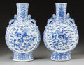 Asian:Chinese, A Pair of Chinese Blue and White Porcelain Moonflask Vases, lateQing Dynasty. 15-1/2 inches high (39.4 cm). ... (Total: 2 Items)