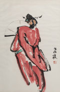 Asian:Chinese, Two Lv Lin, Long Jixian, and Wu Mingyao Chinese Watercolor Paintings. Marks: Red artists' seals. 32-3/4 x 21 inches (83.2 x ... (Total: 2 Items)
