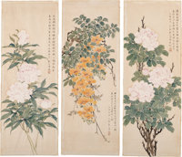 Wenzhao Li (Chinese, b. 1906) Three Watercolor Floral Paintings Ink and color on paper 32 x 11-7/