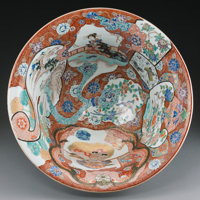 A Large Japanese Arita Porcelain Bowl, Meiji Period, circa 1868-1912 Marks: Six-character mark 9-3/8 inches high x 20 in...
