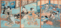 Asian:Japanese, An Utagawa Kunisada (1786-1865) Japanese Woodblock Print Triptych,Edo-Meiji Period. 13-1/2 inches high x 9-1/4 inches wide ...