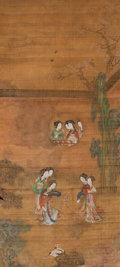 Asian:Chinese, A Chinese Painting of Ladies Playing Cuju after Zhao Boju(1120-1182), Early Qing Dynasty. 61 inches high x 27-1/2 incheswi...