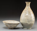 Asian:Other, A Korean Punchong Ware Brushed Bowl and Punchong Bottle Vase.11-1/4 inches high (28.6 cm) (vase). 3 inches high x 7-1/4 inc...(Total: 2 Items)