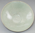 Asian:Other, A Korean Celadon Glazed Bowl with Incised Foliate Decoration. 2-7/8inches high x 8 inches diameter (7.3 x 20.3 cm). ... (Total: 2Items)