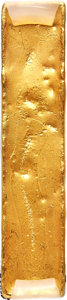 China, China: Qing Dynasty (1644-1911) gold Rectangular 10 Tael Ingot ND (c. 1750) Certified AU by HuaXia,...
