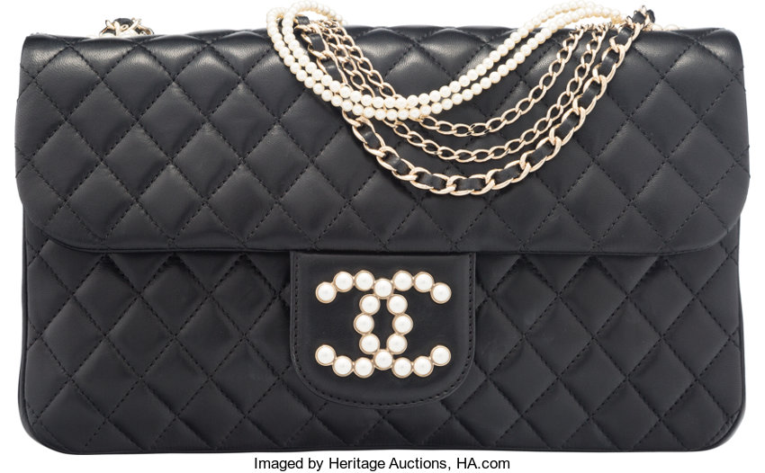 5dabb854fdde Chanel Black Quilted Lambskin Leather Westminster Pearl Flap