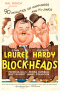 "Movie Posters:Comedy, Block-Heads (MGM, 1938). One Sheet (27"" X 41"") Style D.. ..."