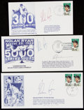 Autographs:Letters, Nolan Ryan & Rickey Henderson Signed First Day Covers Trio(3)....