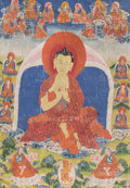 Asian:Other, Two Tibetan Thangkas Depicting Buddhist Pantheons, 19th century.24-3/4 x 19 in. (work); 44 x 28 in. (including border). 46 ...(Total: 2 Items)