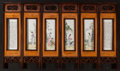 Asian:Chinese, A Chinese Carved Hardwood and Enameled Porcelain Six-Panel Screen,Republic Period, circa 1912-1949. Marks: Red artist's sea...