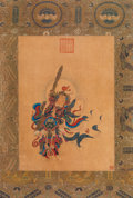 Asian:Chinese, A Chinese Silk Painting Depicting a Door Guardian Figure, QingDynasty. Marks: Two red seals. 16-1/4 inches high x 11-3/4 in...