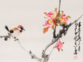 Asian:Chinese, A Zhao Shao'ang (1905-1998) Chinese Watercolor Painting of aChirping Bird on Blossoming Tree, with Associated Boo...(Total: 2 Items)