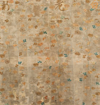 A Large Chinese Silk and Gold Thread Embroidered Textile Panel, Qing Dynasty, 18th century 63 inches high x 59-1/2 inche...