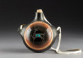 American Indian Art:Pottery, A Contemporary San Ildefonso Etched Blackware Canteen. RussellSanchez...