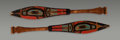 Sculpture, Two Northwest Coast Polychrome Carved Wood Paddles. c. 1900...