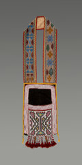 American Indian Art:Beadwork and Quillwork, A Chippewa Beaded Cloth Bandolier Bagc. 1870