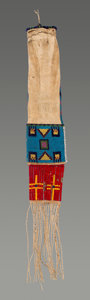 American Indian Art:Beadwork and Quillwork, A Sioux Beaded Hide Tobacco Bagc. 1900