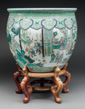 Asian:Chinese, A Chinese Export Porcelain Famille Verte Fishbowl Planter onHardwood Stand, late Qing Dynasty. 16-1/2 inches high x 18-1/2 ...(Total: 2 Items)