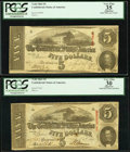 Confederate Notes:1863 Issues, T60 $5 (2) 1863 PF-4; PF-27.. ... (Total: 2 notes)