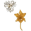 Estate Jewelry:Brooches - Pins, Diamond, Cultured Pearl, Gold Brooches . ... (Total: 2 Items)