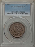 Large Cents, 1851 1C MS64 Brown PCGS. PCGS Population: (183/110). NGC Census: (142/172). MS64. Mintage 9,889,707. . From The Jamesto...