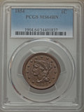 1854 1C MS64 Brown PCGS. PCGS Population: (153/61). NGC Census: (116/110). MS64. Mintage 4,236,156. From The Jamestow...