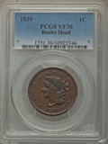 Large Cents: , 1839 1C Booby Head VF30 PCGS. PCGS Population: (21/210). NGC Census: (7/110). Mintage 3,128,661. ...