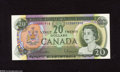 Canadian Currency: , BC-50a $20 1969 A center fold is found on this About Uncirculatedcolorful $20....