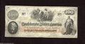 Confederate Notes:1862 Issues, T41 $100 1862. This is a Scroll Two variety with heathy edges andpaper. This note is dated Jan. 3, 1863. Very Fine....