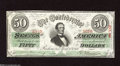 Confederate Notes:1863 Issues, T57 $50 1863. Serial number embossing is visible on this $50 withbayonet-sharp edges. Choice Crisp Uncirculated....