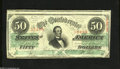 Confederate Notes:1863 Issues, T57 $50 1863. A sliver of the above note is seen on this $50 thathas a couple of small tears along the bottom edge. Fine-...