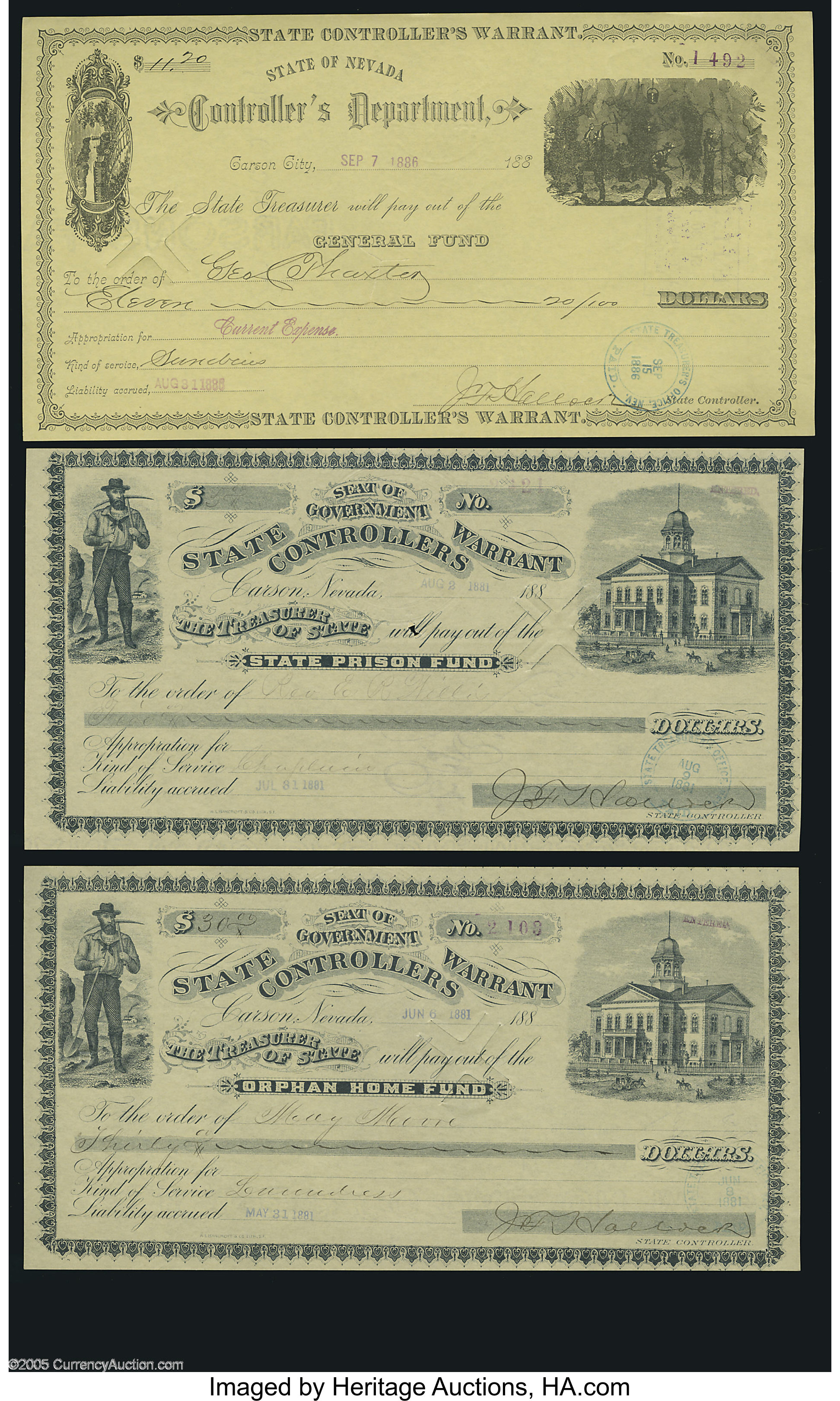 Carson City, NV- State Controller's Warrants 1880's Three Examples