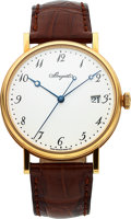 "Timepieces:Wristwatch, Breguet ""Classique"" Yellow Gold Ref. 5177 With Grand Feu Enamel Dial. ..."