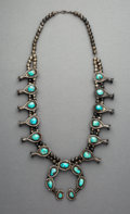 Jewelry:Necklaces, A Southwest Silver and Turquoise Squash Blossom Necklace...