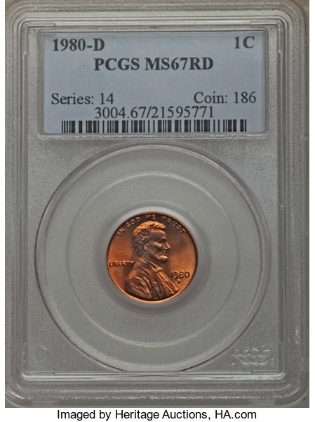 1980-D 1C MS67 Red PCGS  PCGS Population: (42/0)  NGC Census: | Lot