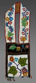 American Indian Art:Beadwork and Quillwork, A Chippewa Beaded Cloth Bandolier Bagc. 1900