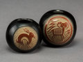American Indian Art:Pottery, Two Miniature Santa Clara Etched Red/Blackware Jars. JosephLonewolf. c. 1972 ... (Total: 2 Items)