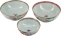 Asian, Three Chinese Export Porcelain Bowls. 9-1/4 inches diameter (23.5cm) (largest). ... (Total: 3 Items)