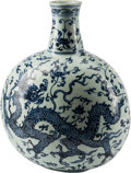 Ceramics & Porcelain, Chinese Blue and White Porcelain Pilgrim Jar with Dragon Motif. 18 inches high (45.7 cm). ...