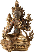 Asian, A Chinese Jeweled Rock Crystal and Gilt Bronze Tara Figure. 10inches high (25.4 cm...