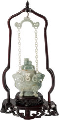 Asian:Chinese, A Chinese Carved Hardstone Censer on Stand, 20th century. 16 incheshigh (40.6 cm). ... (Total: 2 Items)